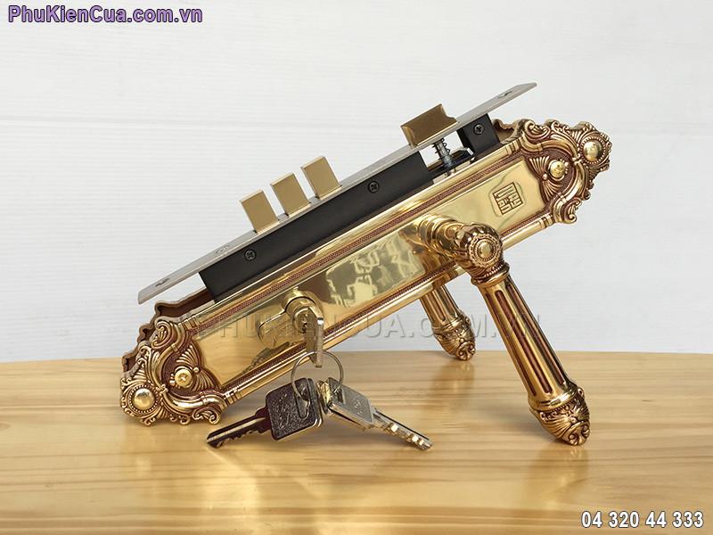 Khóa cửa tay gạt bằng đồng vàng HC8526
