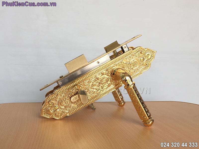 Khóa tay gạt cửa gỗ mạ vàng JP-801-24K